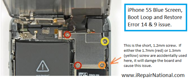 iPhone5S bluescreen, bootloop, error 14 9 cause.